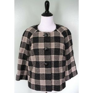 TALBOTS Tan Black Check Plaid 3 Button Wool Blazer